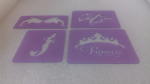 4 x face painting stencils  Mermaid, dolphin & Princess Crown reusable many times  dolphins sea ocean fish swimming